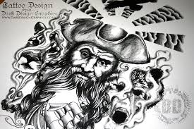black beard custom pirate tattoo design on behance