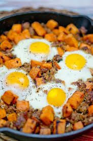 dinner egg recipes sweet potato hash with sausage and eggs recipe sweet potato