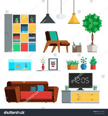 Livingroom Lamp Furniture Interior Set Living Room Lamp Stock Vector 475481338