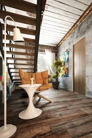 charming reading nook design with nice looking orange leather