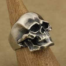 metal skeleton ring holder images 925 sterling silver heavy skull ring mens biker rock punk ring jpg