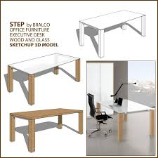 sketchup texture model office furniture executive desk glass and
