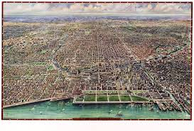 Downtown Chicago Map by Vintage Map Chicago Illinois 1916