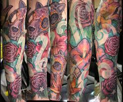 cute flower sleeve tattoos flower and skull sleeve tattoos