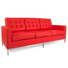knoll style 3 seat sofa red leather vertigo interiors usa