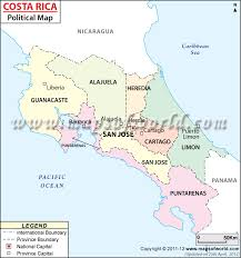 san jose costa rica on map political map of costa rica