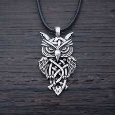 vintage owl necklace jewelry images Peaceful warrior celtic owl necklace swooping owl jpg