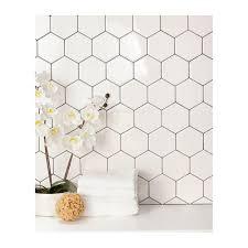 Hexagon Tile Kitchen Backsplash Daltile Semi Gloss White Hexagon 4 In X 4 In Glazed Ceramic Wall