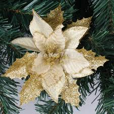 Cheap Christmas Tree Decorations Gold Poinsettia Christmas Tree Decorations Gold Clip On