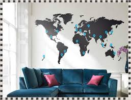 World Map Decal by World Map Wall Decal Large World Map Wall Decal With Pins U2013 Home