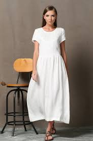 white linen dress semi fitted summer fashion casual everyday