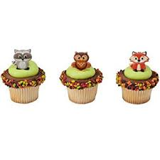 woodland cake toppers 12 woodland animals cupcake cake rings birthday party favors cake