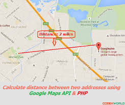 distance between two points map distance between two addresses maps api and php