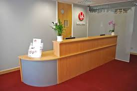 Grey Reception Desk Grey Wall Paint And Red Carpet Color Combination For Lobby