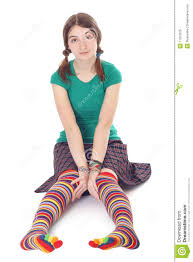 cute in stip stockings royalty free stock image image 11201626