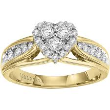 yellow gold wedding band with white gold engagement ring keepsake hearts desire 1 2 carat t w certified diamond 10kt