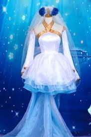 Halloween Costume Wedding Dress Free Shipping Beautiful Bride Deimos Mixed Blue White Dress