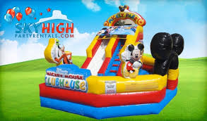 mickey mouse clubhouse bounce house mickey playzone slide houston sky high party rentals