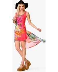 forever 21 tropical high low chiffon dress in green lyst