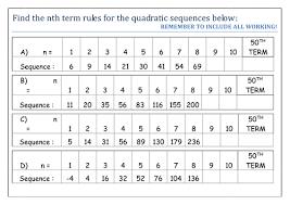 quadratic sequences gcse mathematics 1 9 advanced algebra by