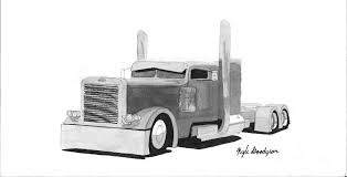 drawn truck semi truck pencil and in color drawn truck semi truck
