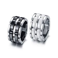 man luxury rings images Women men luxury ceramic jewelry black white exquisite 316l jpg