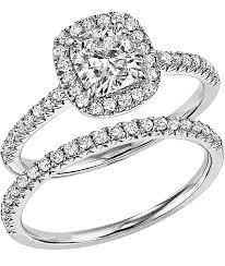 bridal set rings 14k white gold diamond bridal set with a 1 00 cushion cut center