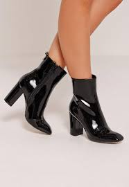 womens boots missguided patent heeled ankle boots black missguided