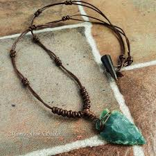 stone leather necklace images Green jasper stone arrowhead brown leather choker necklace for men jpg