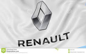 logo renault close up of waving flag with groupe renault logo seamless loop