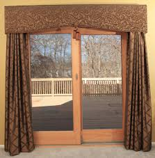 Large Pattern Curtains by Patio Ideas Patio Door Curtain Rods With Cream Shades And Wooden