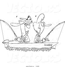 vector of a cartoon couple fishing together in a boat coloring