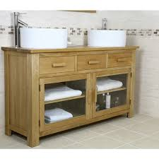 Solid Oak Bathroom Vanity Unit Solid Oak Double Vanity Unit Cabinet Sink Basin Tap Solid Oak