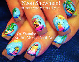 nail art tutorial neon snowman nails summer fun nail design