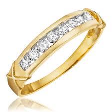 gold womens wedding band 1 carat diamond trio wedding ring set 14k yellow gold