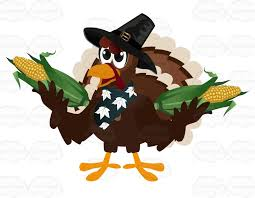 thanksgiving turkey wearing a bandana hat and holding two corn on