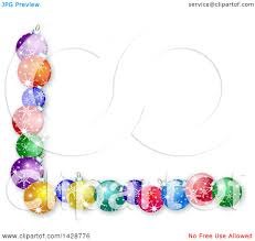 clipart of a border of colorful christmas bauble ornaments on