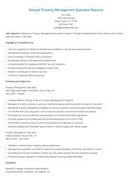 Sample Resume For Property Manager by Sample Property Management Specialist Resume Resame Pinterest