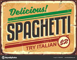publicité cuisine conseil administration spaghettis délicieux repas signe vintage