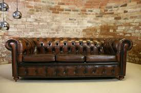 Vintage Chesterfield Sofas Vintage Chesterfield Antique Brown Leather 3 Seater Sofa Retro