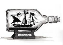 ship in a a model pirate ship in a bottle languished on a shelf the museum