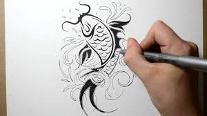 how to draw a koi fish tattoo design youtube