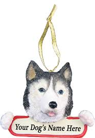 siberian husky ornament with personalized name plate a great