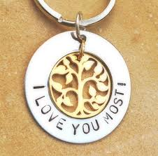 personalized hand stamped keychain tree of life keychain i love