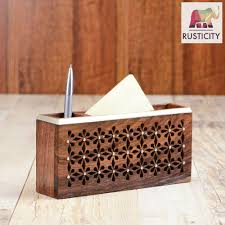 rusticity wooden desk organizer with paper and pen sections
