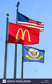 Flags Restaurant Menu Us Flag And Mcdonalds Flag Over A Mcdonalds Restaurant On The Us