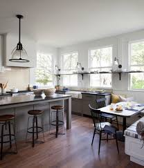 vintage bar stools kitchen transitional with banquette seating