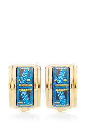 blue and gold ribbon hermes blue and gold ribbon motif enamel earrings by what goes