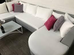 Purple Corner Sofas Sophia Soft Grey Outdoor Fabric Corner Sofa