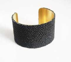 cuff bracelet black images Stingray bracelet jet black genuine stingray leather cuff jpg